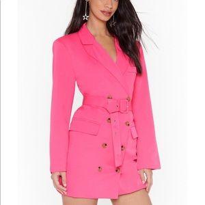NastyGal Oversized Blazer Dress Pink